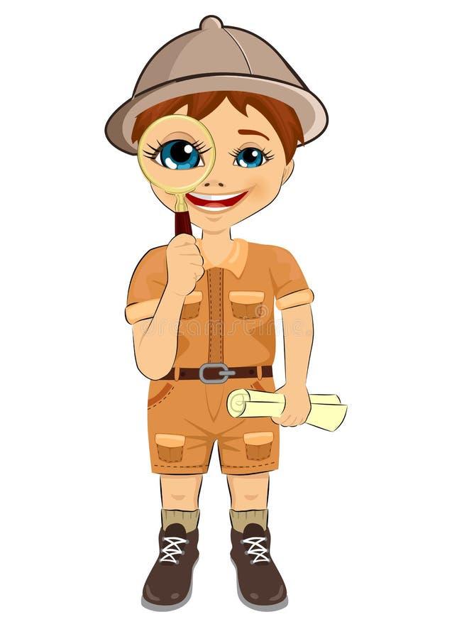 Scherzi il ragazzo dell'esploratore con la mappa della lente d'ingrandimento e del tesoro della tenuta del cappello di safari royalty illustrazione gratis