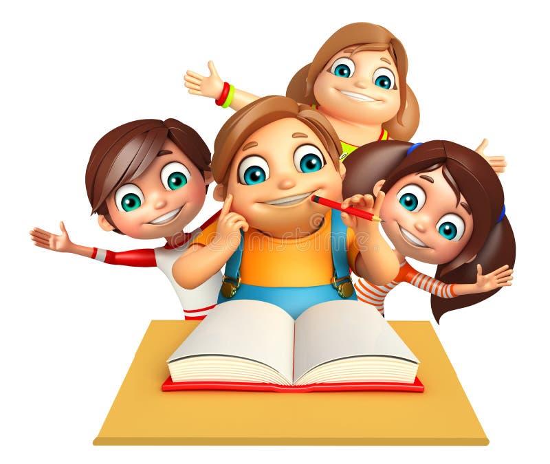 Scherzi il ragazzo e la ragazza del bambino con il libro della Tabella royalty illustrazione gratis