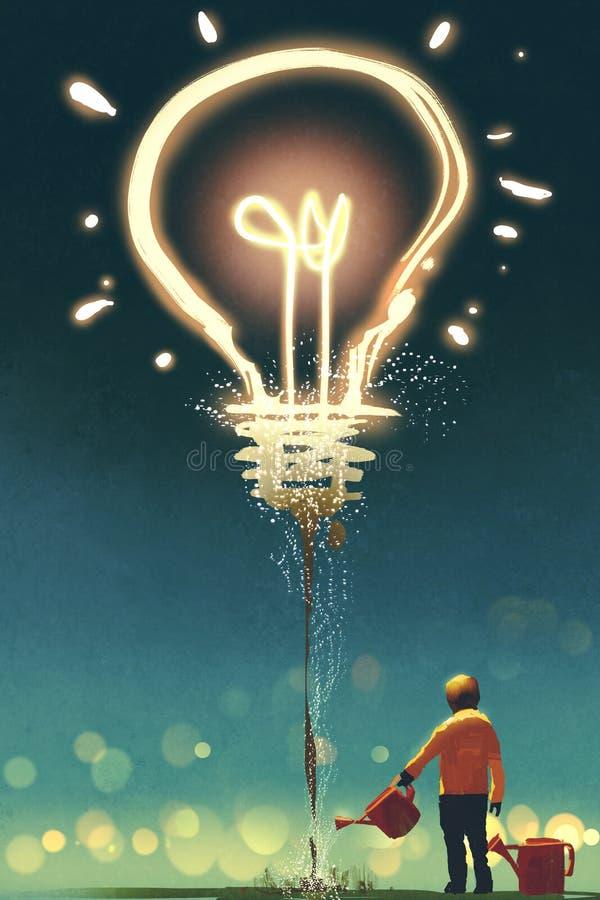 Scherzi l'innaffiatura della lampadina grande su fondo scuro illustrazione di stock