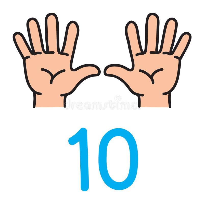 Scherzi la mano del ` s che mostra il segno della mano di numero dieci illustrazione di stock