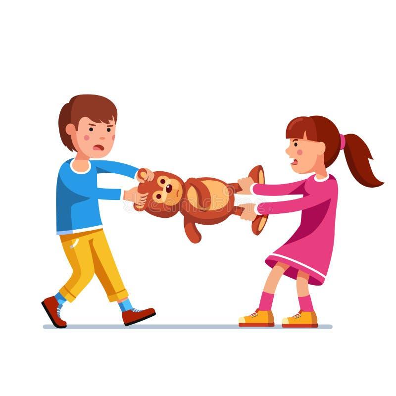 Scherzi la ragazza, il fratello del ragazzo e la sorella combattenti sopra il giocattolo illustrazione vettoriale