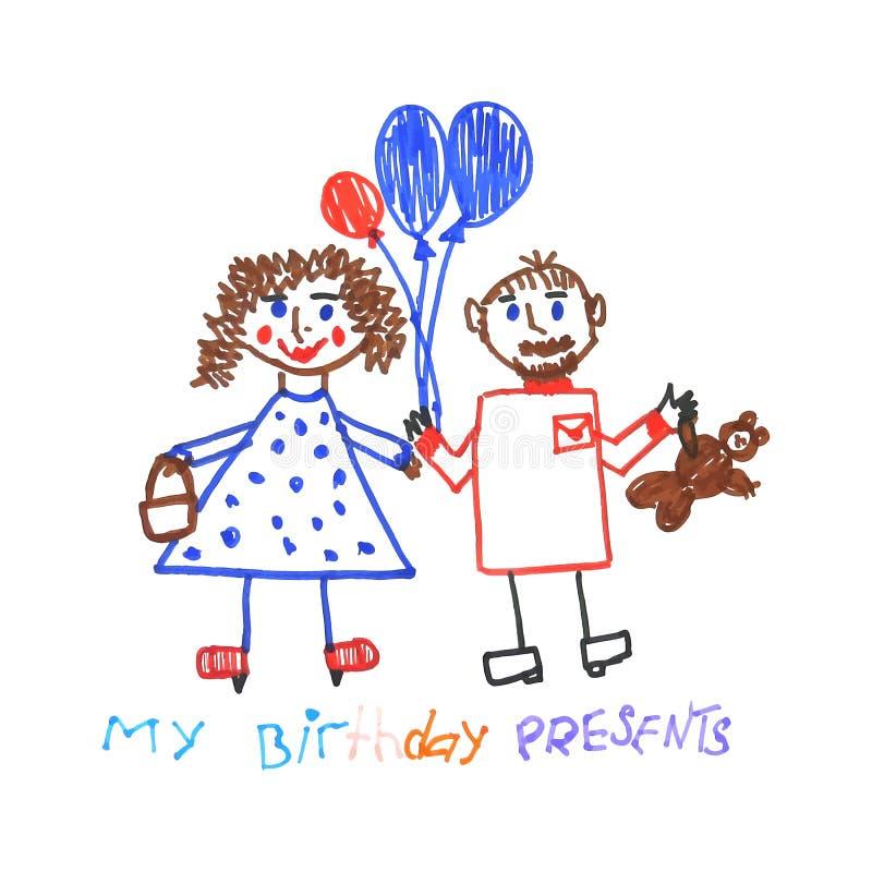 Scherzi lo scarabocchio degli ospiti della festa di compleanno con i palloni e dei presente isolati su fondo bianco illustrazione vettoriale