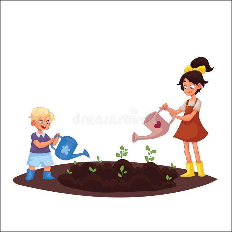 Scherzt Bewässerungsanlagen im Garten lizenzfreie abbildung