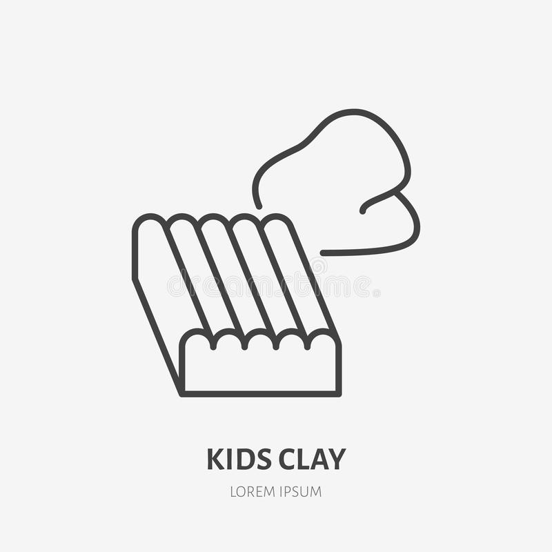 Scherzt flaches Logo des Lehms, Plasticinelinie Ikone Frühe Babyentwicklung, Bildungsvektorillustration Zeichen für Kindershop stock abbildung
