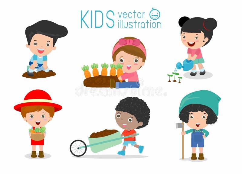 Scherzt Funktionen in einem Gemüsegarten, die Kinder, die in einem Gemüsegarten arbeiten vektor abbildung