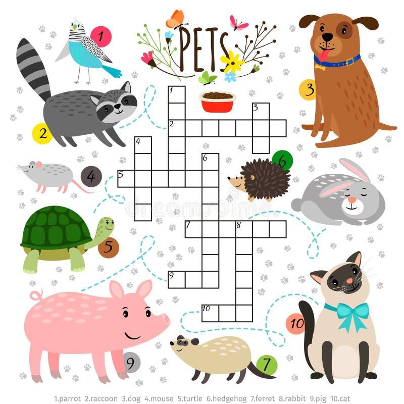 Scherzt Kreuzworträtsel mit Haustieren Die Kinder, die Wort kreuzen, suchen Puzzlespiel mit Klapstieren wie Katze und Hund, Schil stock abbildung