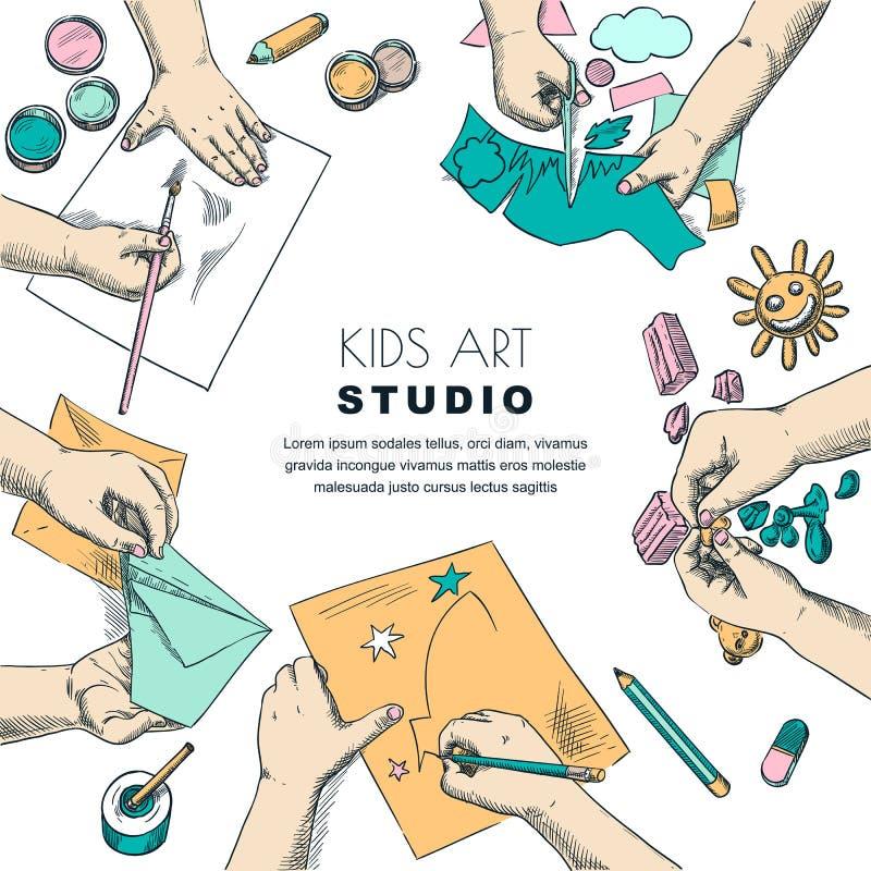 Scherzt Kunstunterrichtarbeitsprozess Vector Skizzenillustration der Malerei, Zeichnungskinder Handwerks- und Kreativit?tskonzept lizenzfreie abbildung