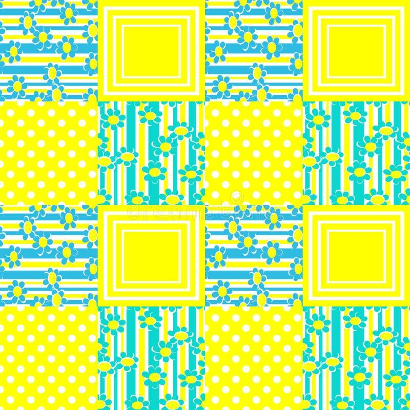 Scherzt nahtlose Musterkarikatur des Patchworks Verzierungshintergrund vektor abbildung