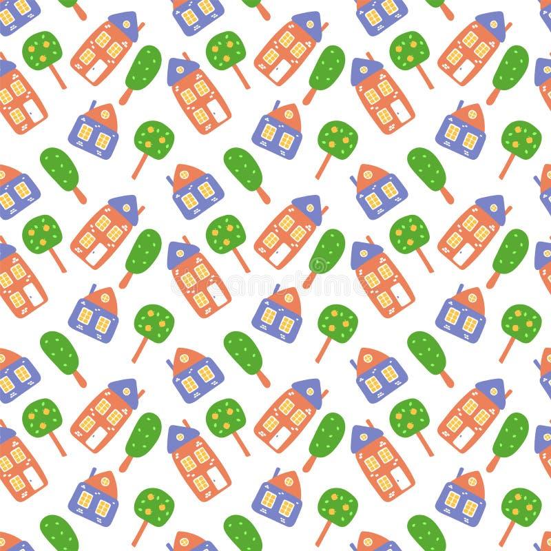 Scherzt nahtloses Muster Kindisches Bild Druck für Babywindeln, Westen, Schieber, Blätter, Tapeten, Hüte, Jacken, Kleid, Gewebe stock abbildung