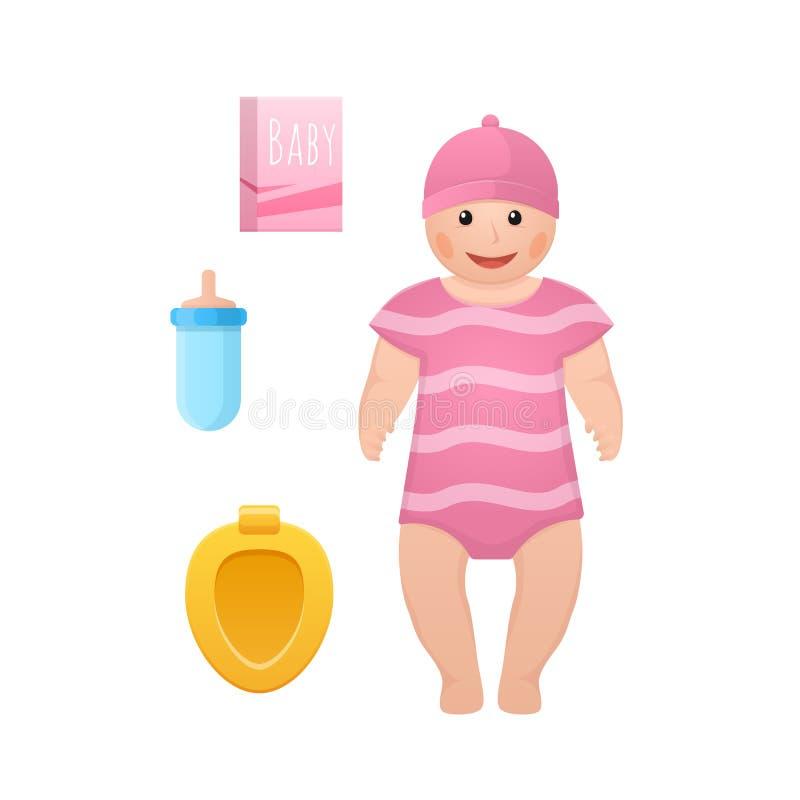 Scherzt Puppe, Kinderspielwaren, Zubehörkonzept Babyspielzeugpuppe, neugeboren vektor abbildung