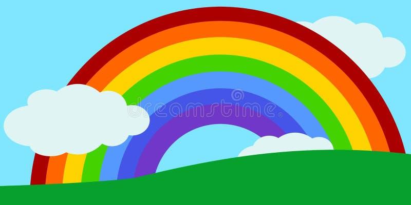 Scherzt Regenbogen Landschaftsvektor stock abbildung
