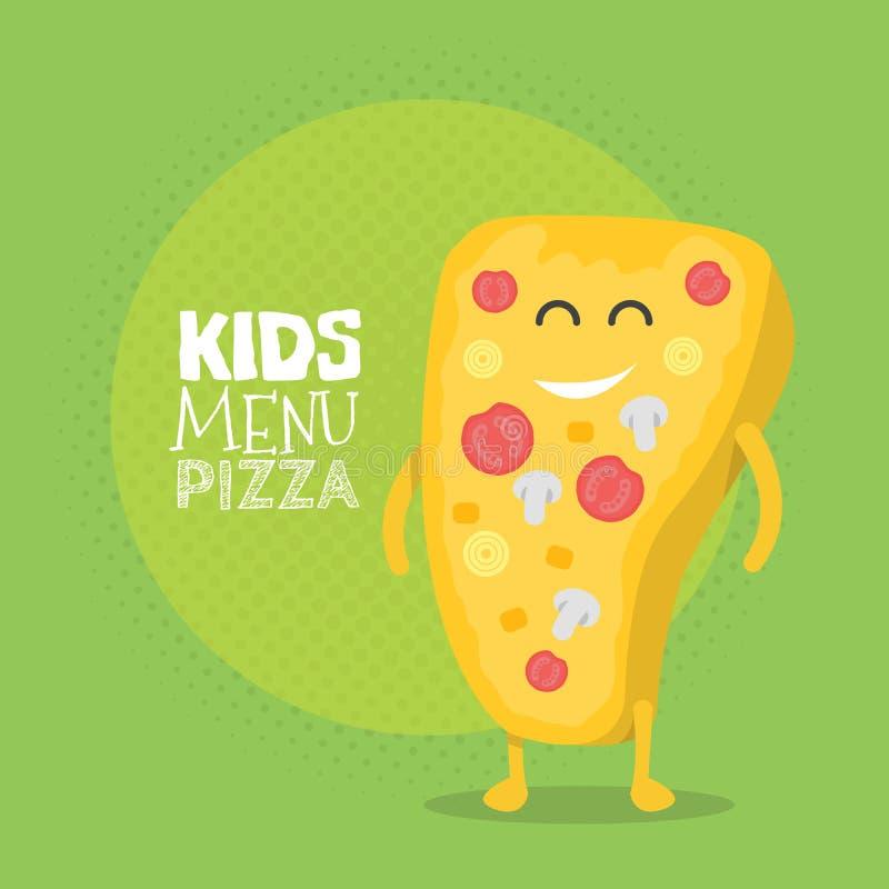 Scherzt Restaurantmenü-Pappcharakter Lustige nette gezeichnete Pizza, mit einem Lächeln, Augen und den Händen vektor abbildung