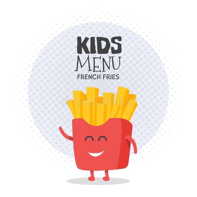 Scherzt Restaurantmenü-Pappcharakter Lustige nette gezeichnete Pommes-Frites, mit einem Lächeln, Augen und den Händen vektor abbildung