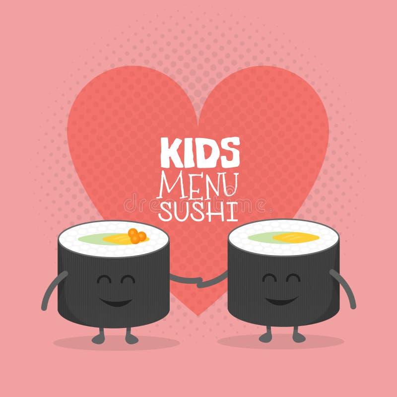 Scherzt Restaurantmenü-Pappcharakter Lustige nette Sushirollenfreunde lieben gezogenes mit einem Lächeln, Augen und den Händen stock abbildung
