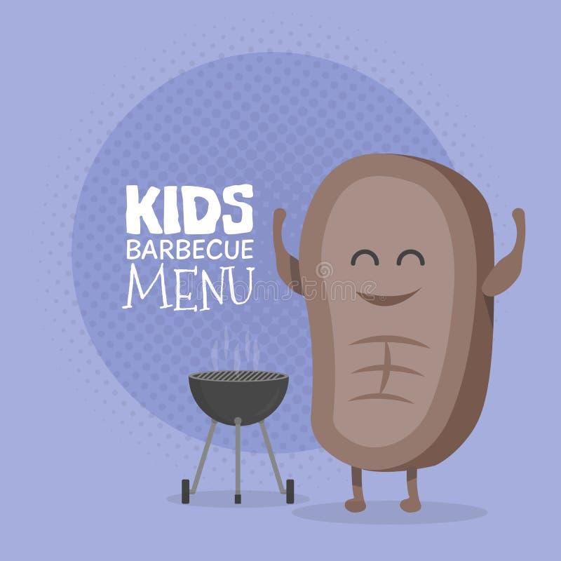 Scherzt Restaurantmenü-Pappcharakter Lustiger netter Karikatursteakgrill gezeichnet mit einem Lächeln, Augen und den Händen stock abbildung