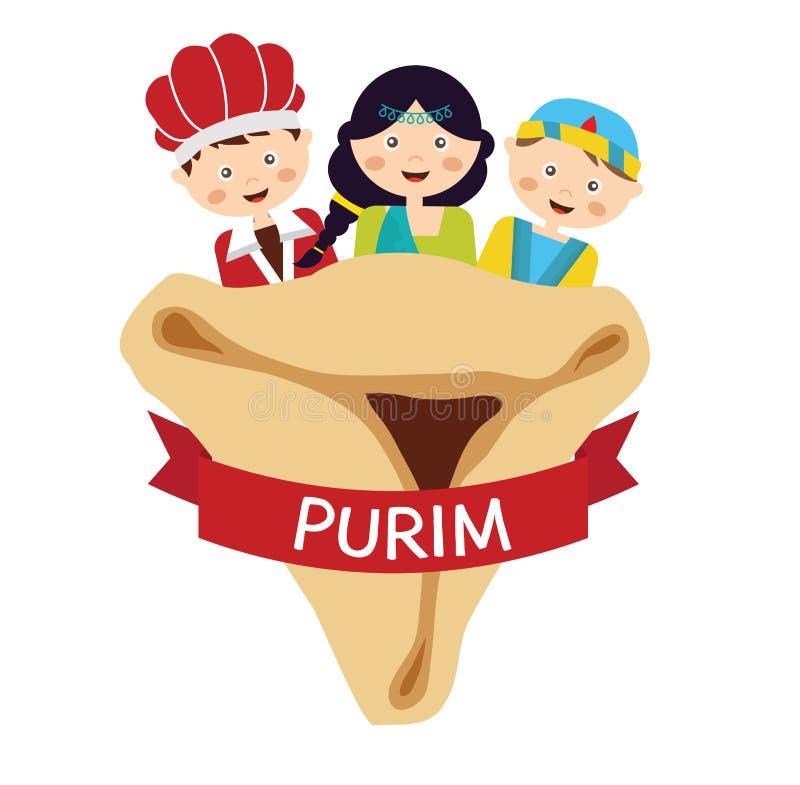 Scherzt tragende Kostüme von Purim-Geschichte angeordnet stock abbildung