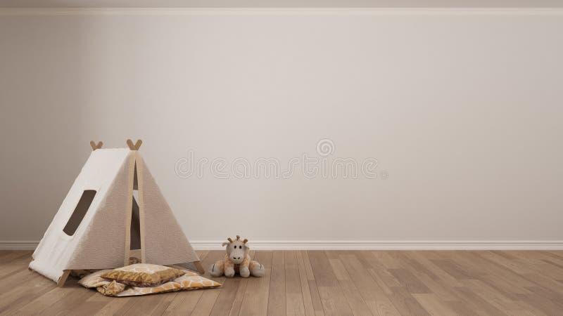 Scherzt unbedeutenden weißen Hintergrund mit Kinderzelt, umfassendes Kissen lizenzfreies stockfoto