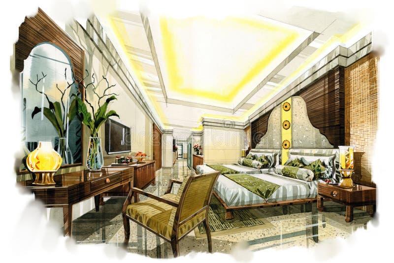 Schets binnenlandse twing slaapkamer in een waterverf vector illustratie