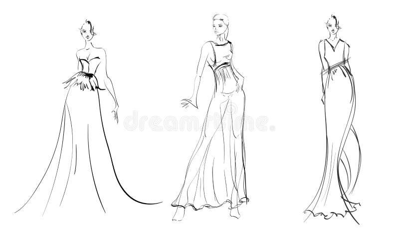 schets De meisjes van de manier royalty-vrije illustratie