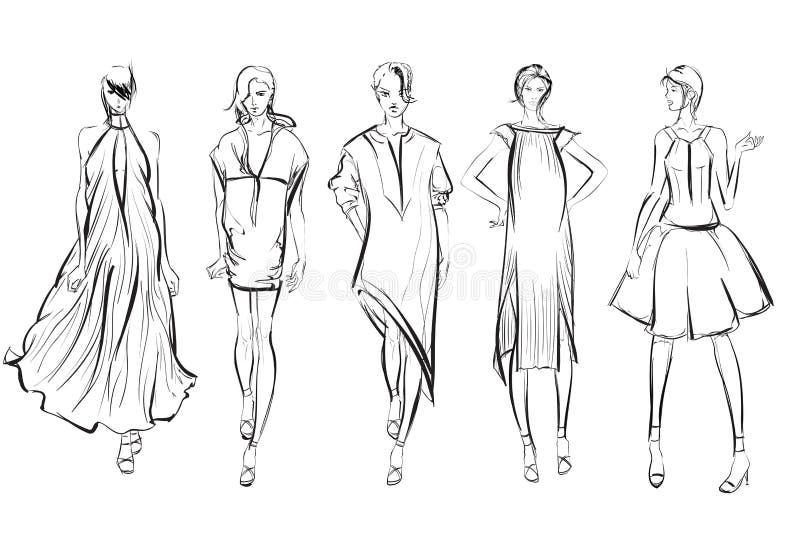 schets De meisjes van de manier stock illustratie