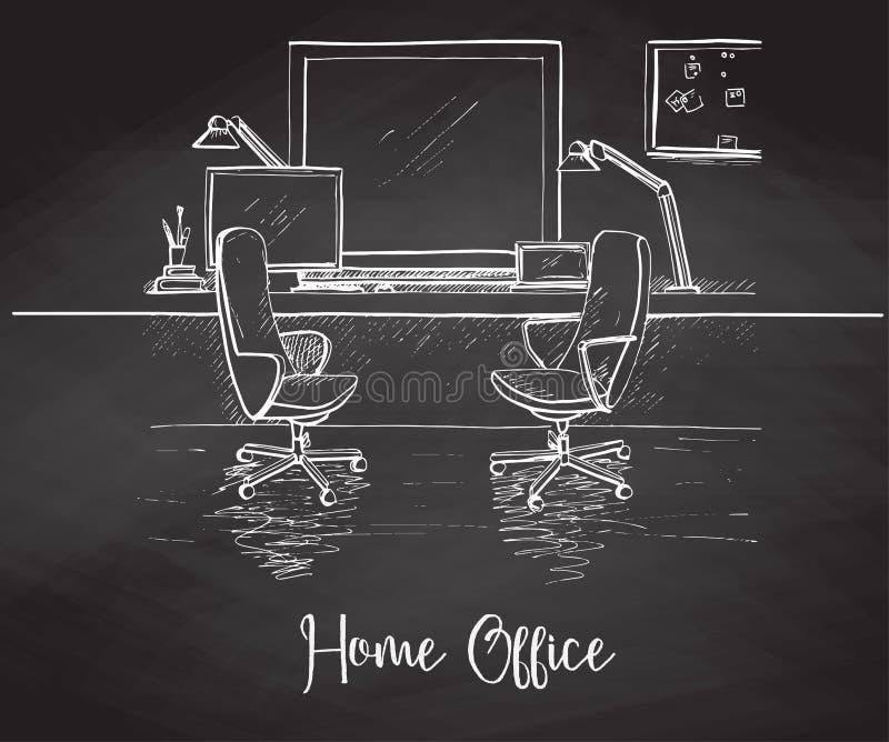 Schets de ruimtehand in krijt op een bord wordt getrokken dat Twee bureaustoelen, bureau, diverse voorwerpen op de lijst Schetswe vector illustratie