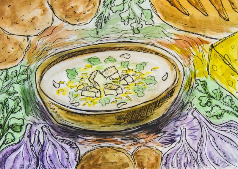 Schets die de plantaardige soep van het kaasknoflook trekken royalty-vrije stock foto
