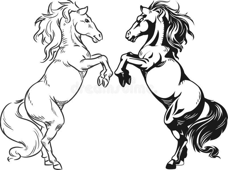 Schets Die Van Hengst Of Paard Steigeren Stock Foto's