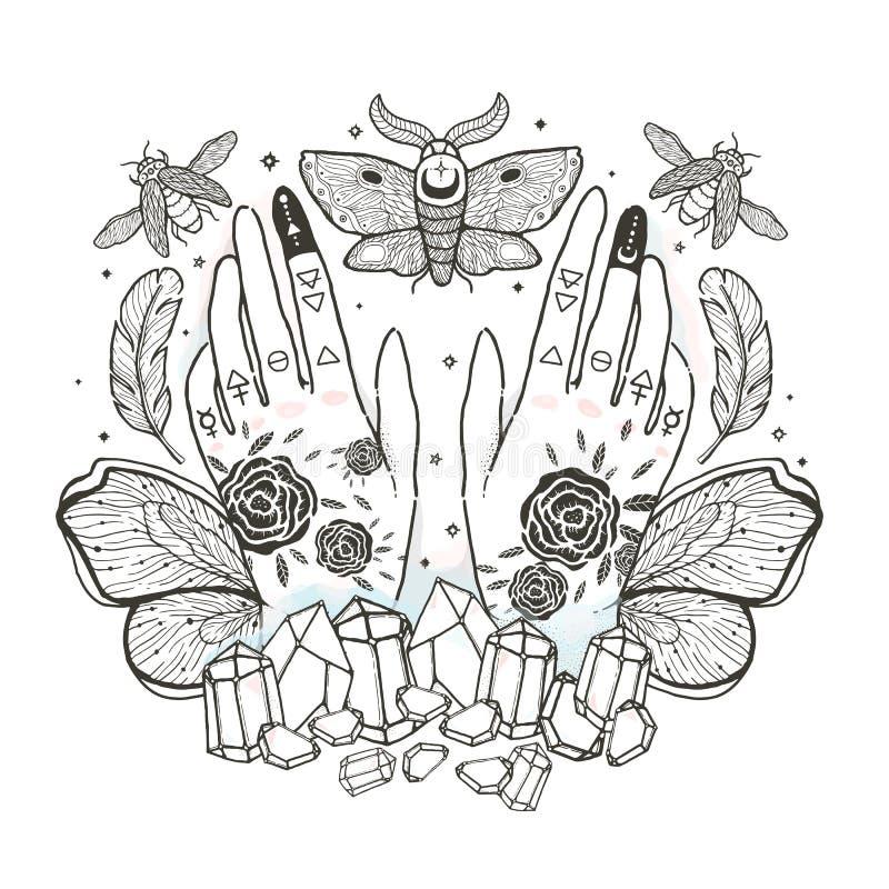 Schets grafische illustratie met mysticus en geheime hand getrokken symbolen Vector illustratie Astrologische en esoterische c va royalty-vrije illustratie