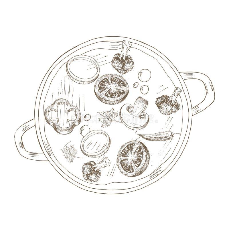 Schets groentesoep stock illustratie