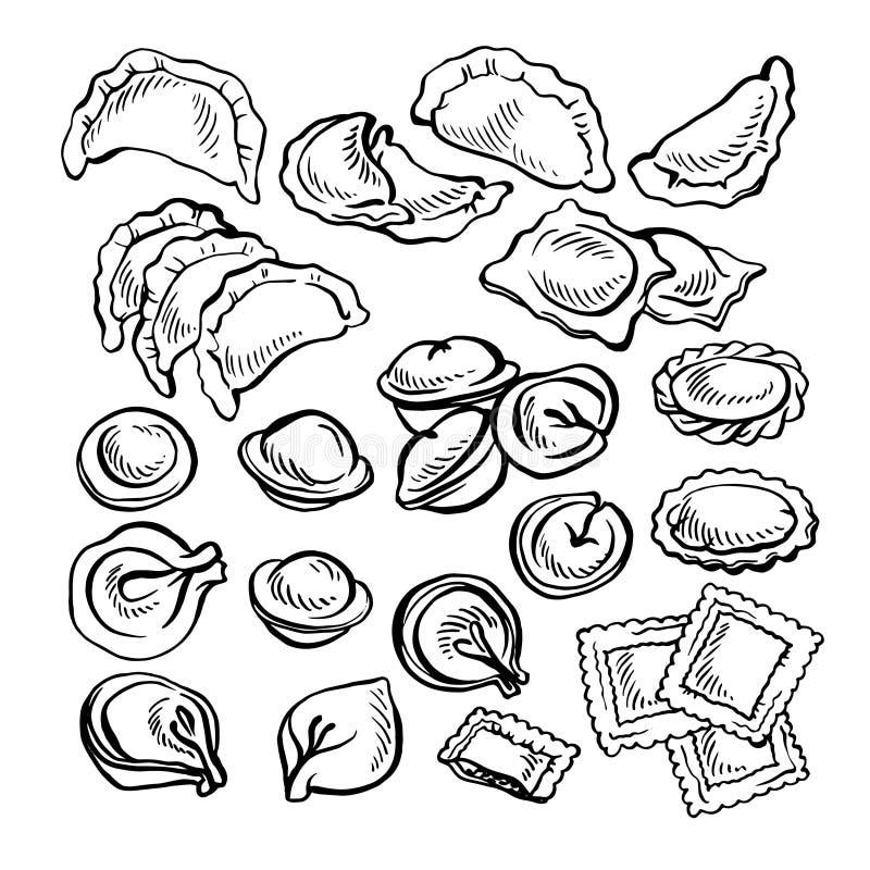 Schets hand getrokken Vareniki Pelmeni Russische pelmeni op een plaat Voedsel cooking royalty-vrije illustratie
