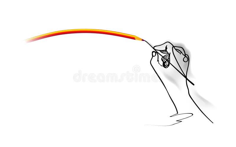 schets Het is een getrokken hand, trekt een lijn Potloodkrommingen op witte vectorillustratie regelmatig worden geïsoleerd die al stock illustratie