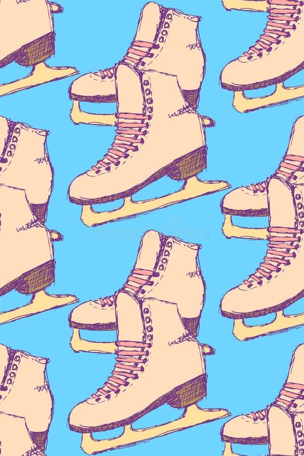 Schets het schaatsen schoenen in uitstekende stijl vector illustratie