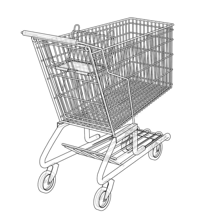 Schets het winkelen karretje Vector stock illustratie