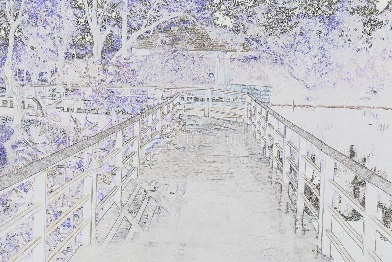 Schets houten Brug over Kanaal in Tuin of Waterverfbeeld royalty-vrije illustratie