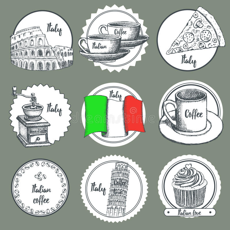 Schets Italiaanse pictogrammen stock illustratie