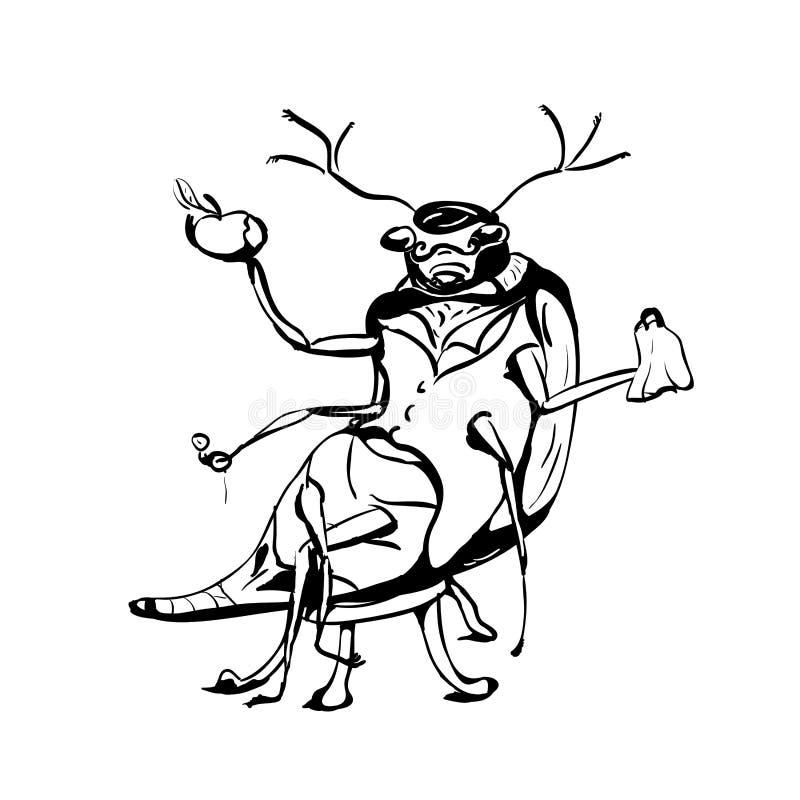 Schets, Kever met appel royalty-vrije illustratie