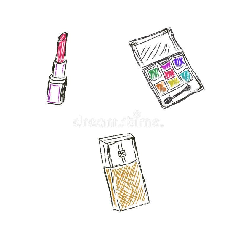 Schets, Make-up, producten, schoonheidsmiddelen, vectorillustratie royalty-vrije illustratie