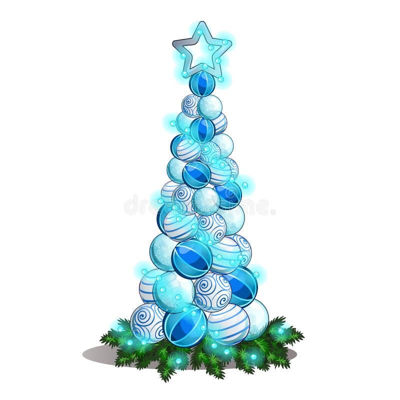 Schets met een bos van de ballen van het Kerstmisglas in de vorm van een boom Steekproef van de affiche, uitnodiging en andere ka vector illustratie