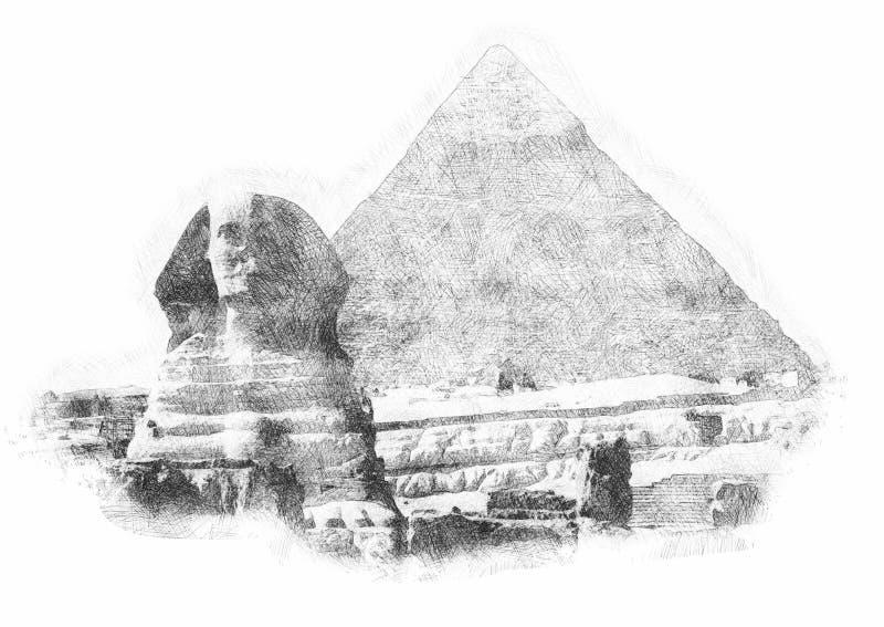 Schets met een eenvoudige potloodschets van de Egyptische piramide stock illustratie