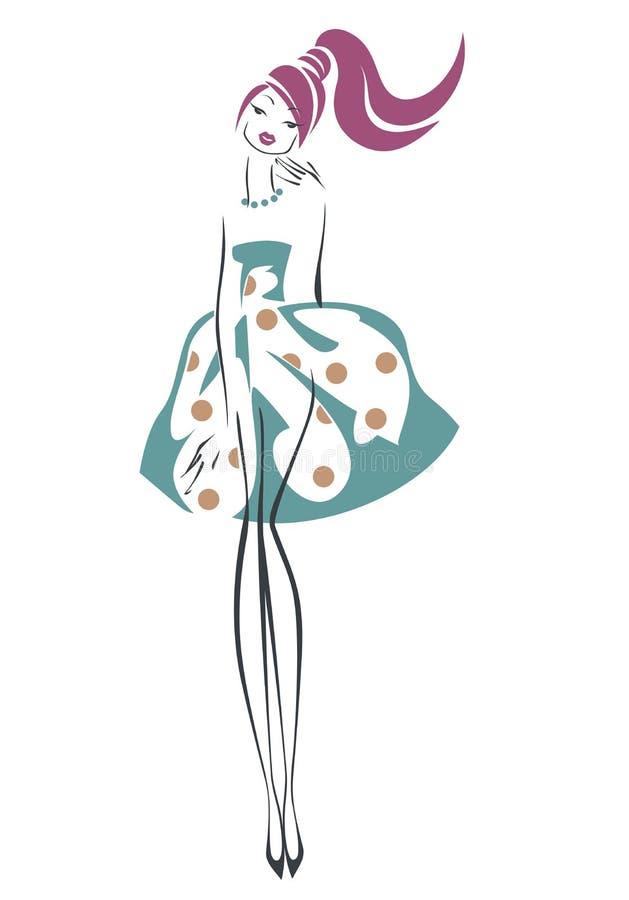Schets retro meisje vector illustratie