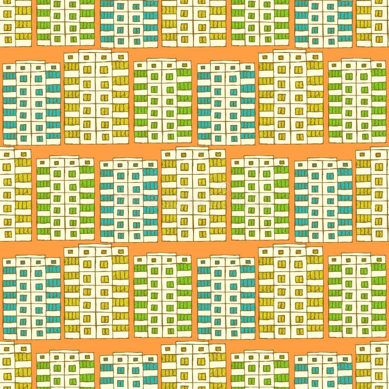 Schets sovjetgebouwen stock illustratie