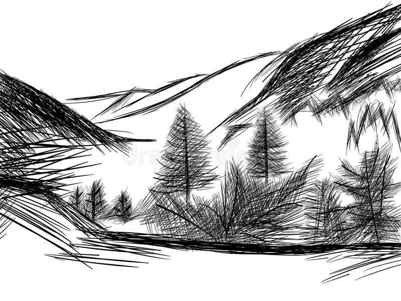 Schets van berglandschap in zwart-wit vector illustratie