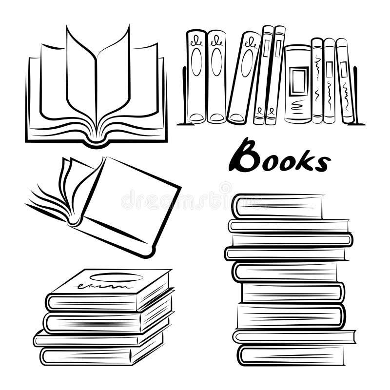 Schets van boeken Hand getrokken geplaatste boeken Geopende en gesloten boeken vector illustratie