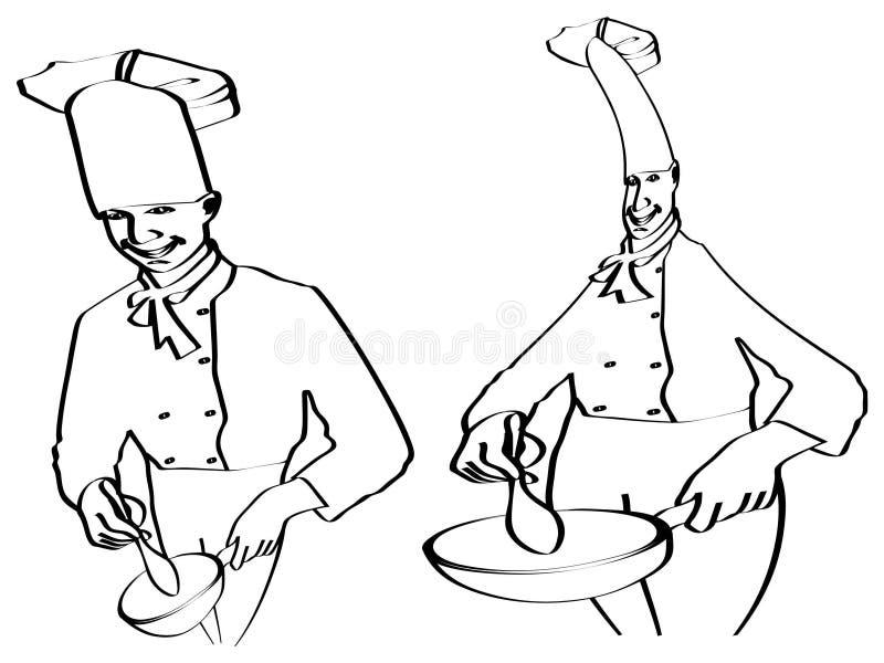 Schets van chef-koks het koken royalty-vrije illustratie