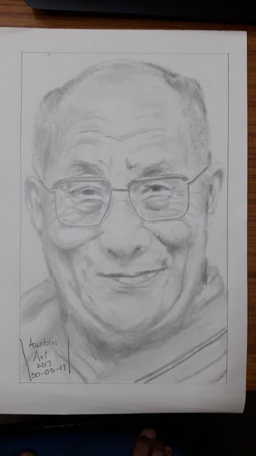 Schets van dalailama door me portret royalty-vrije stock afbeeldingen