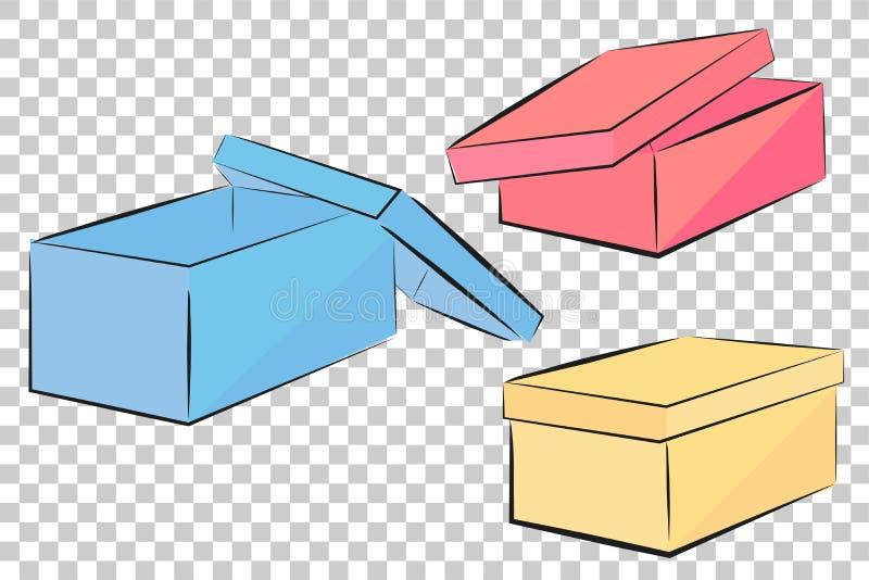 Schets van de blauwe, roze en gele doos van de perspectiefschoen, bij Transparante Effect Achtergrond stock illustratie