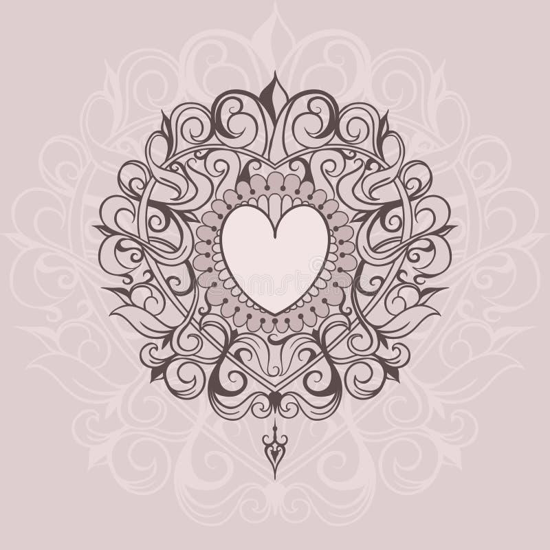 Schets van de harten van de tatoegeringshenna royalty-vrije illustratie