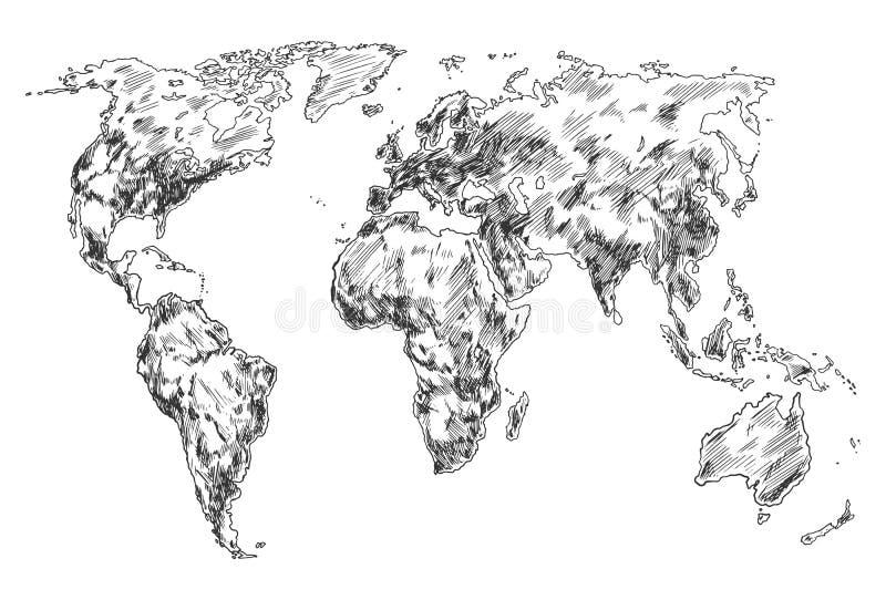 Schets van de kaart van de Aardewereld Hand getrokken continenten stock illustratie