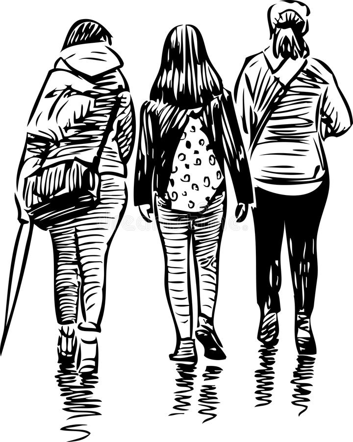 Schets van de lopende tienerjarenmeisjes vector illustratie