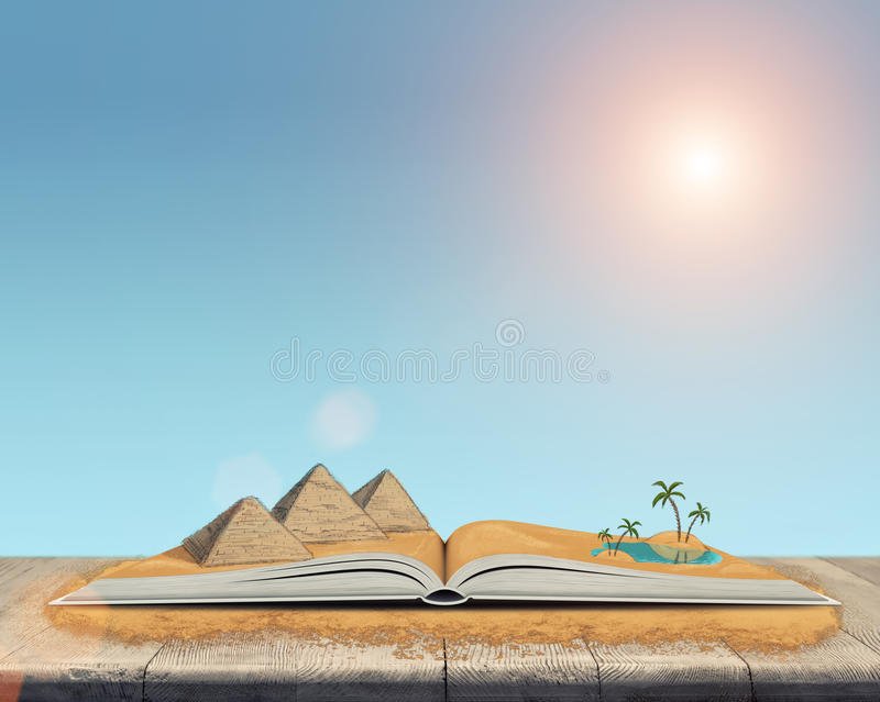 Schets van de piramides en de oase in de woestijn over open boek vector illustratie